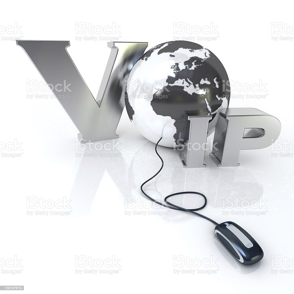3D image of VOIP using a globe and mouse royalty-free stock photo
