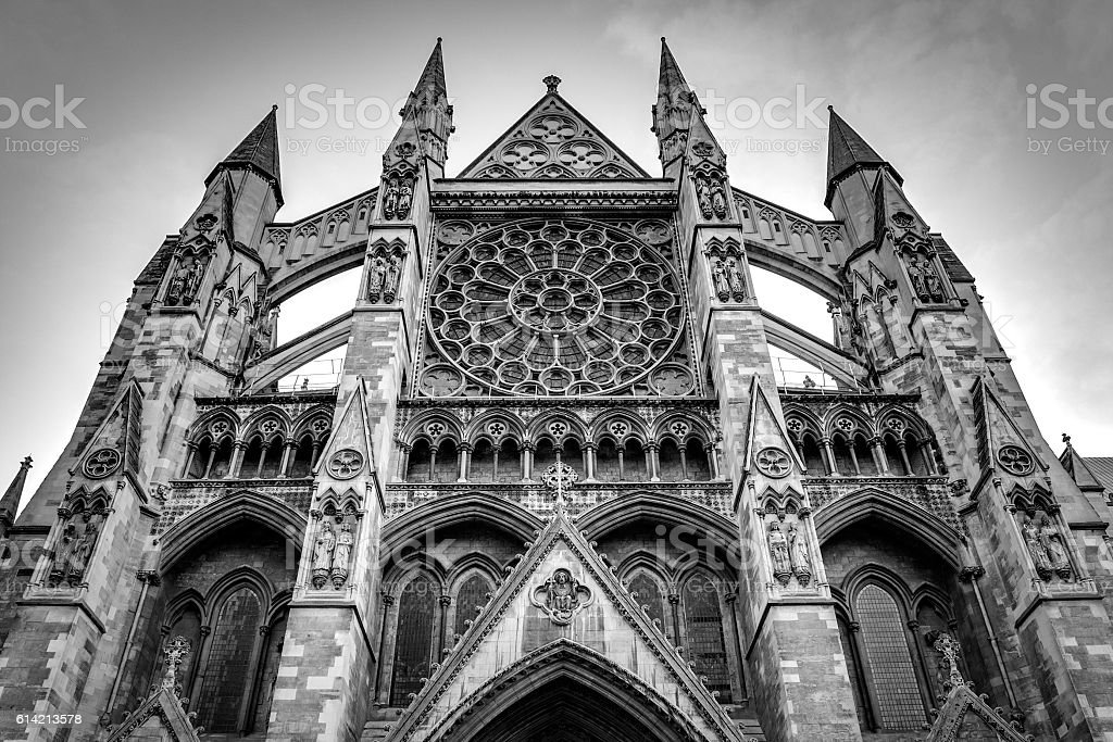 B&W image of Westminster Abbey in London, England, UK stock photo