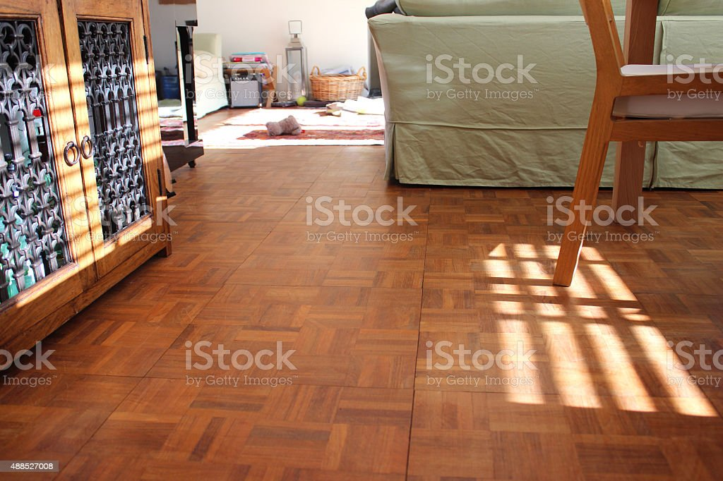 Image of wooden parquet floor in sitting room with green-sofa stock photo