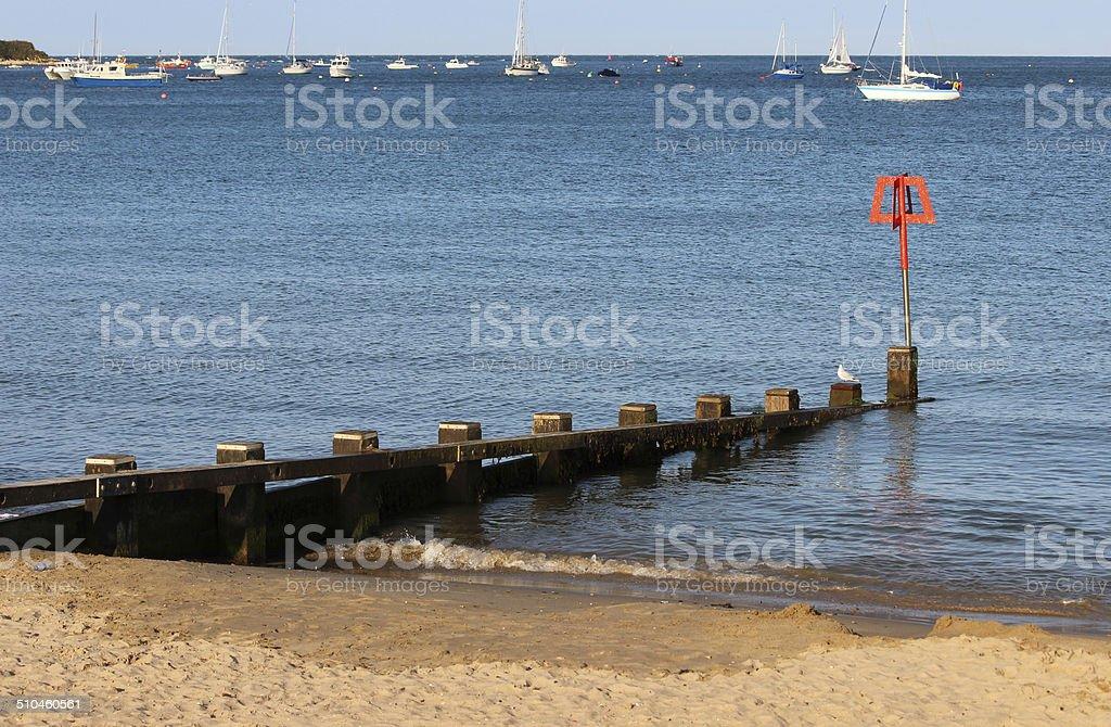 Image of wooden seaside groyne, sandy beach, sea-defence, town, houses stock photo