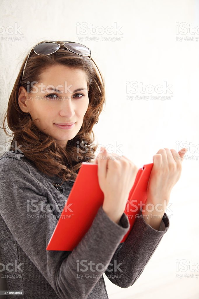 Image of young beautiful woman reading a book royalty-free stock photo