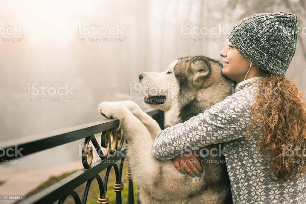 Image of young girl with her dog, alaskan malamute, outdoor stock photo