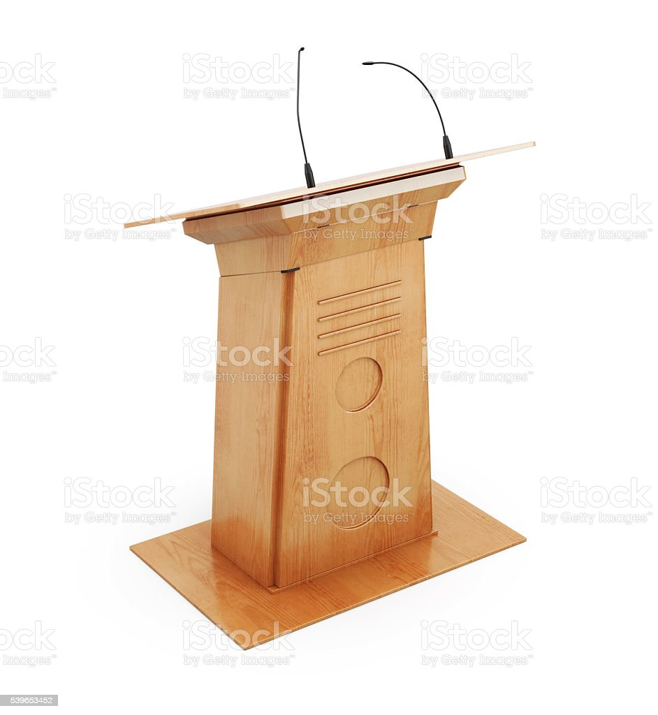 Image podium tribune with microphones isolated on white backgrou stock photo
