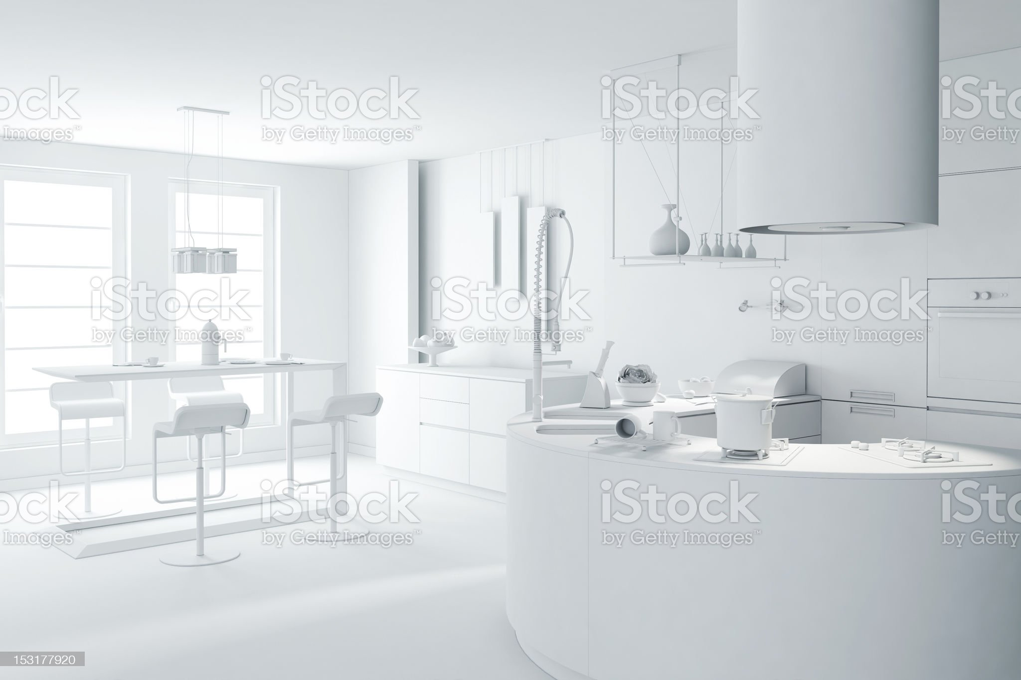 3D image render of a modern interior design in white royalty-free stock photo