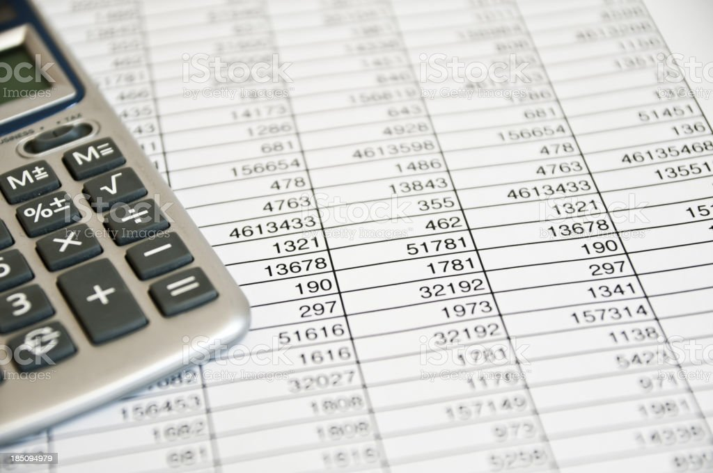 Image showing calculator and spreadsheet with numbers on it royalty-free stock photo
