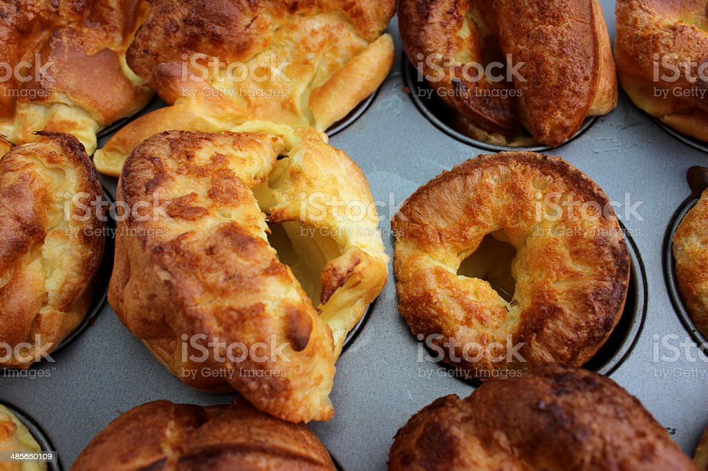 Image showing tray of freshly made, well risen Yorkshire puddings stock photo
