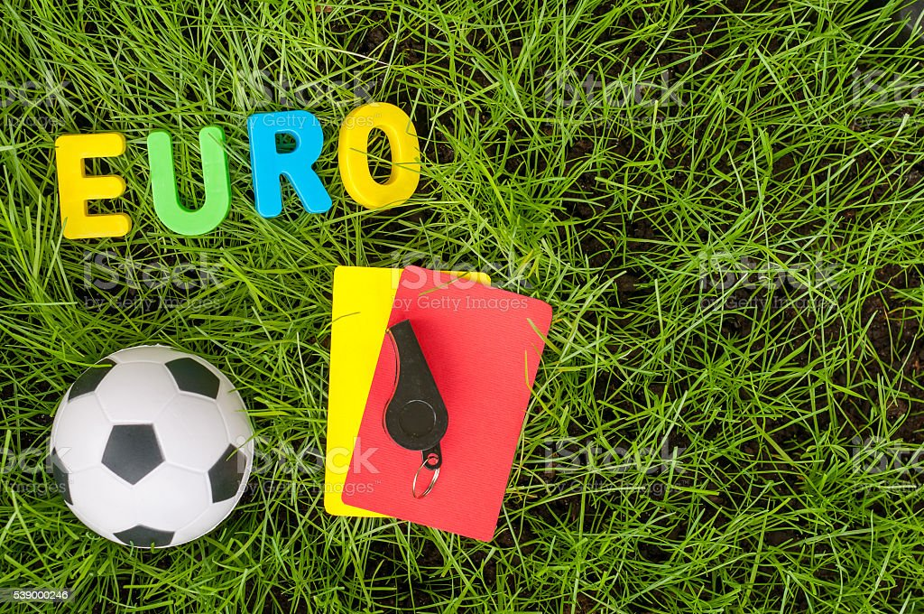 Image with ball, referee yellow, red stock photo
