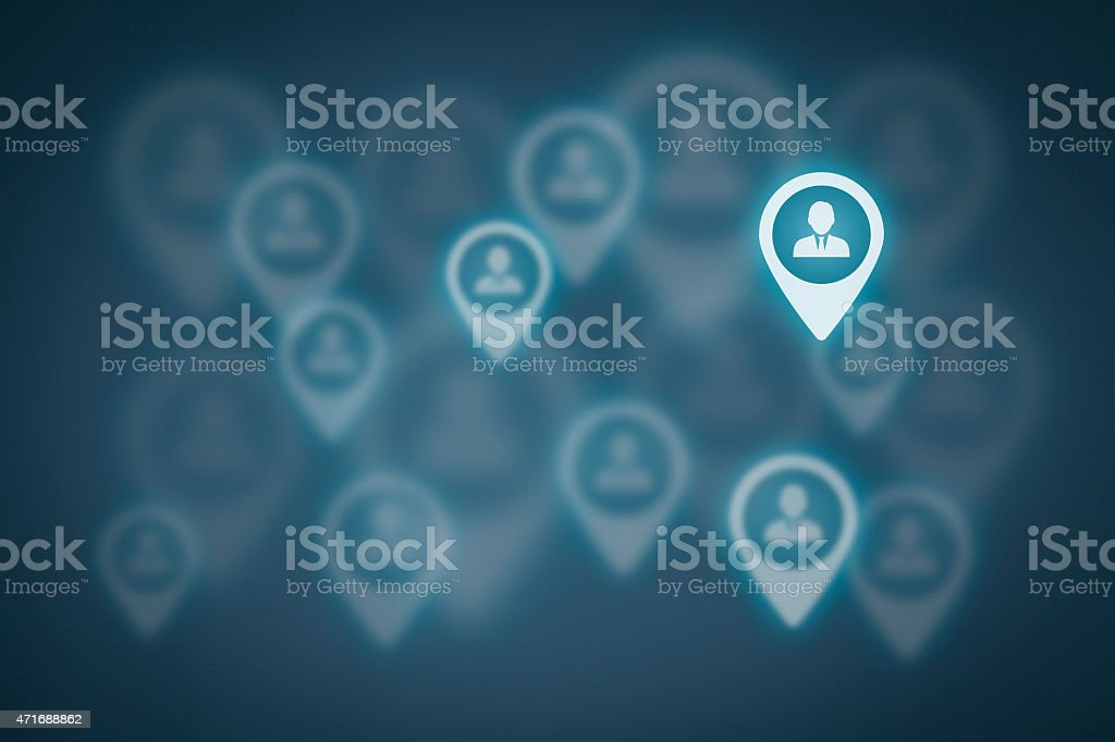 Image with dull and one lit pointer for target customers  stock photo