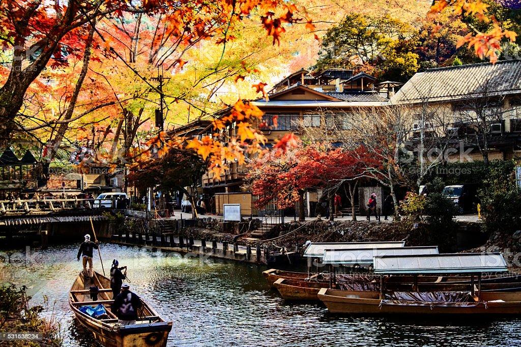 imageing of fall seasnon in Arashiyama, Japan stock photo