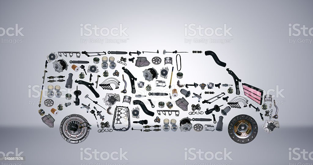 Images bus assembled from new spare parts stock photo
