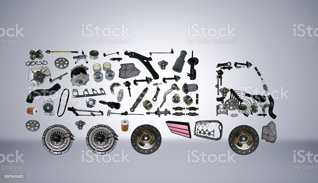 Images truck assembled from new spare parts stock photo