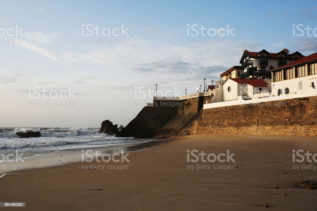 Imagine a city laid out on a strip of oceanfront of uniform width. stock photo