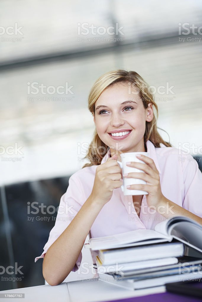 Imagining a bright future - Studying royalty-free stock photo