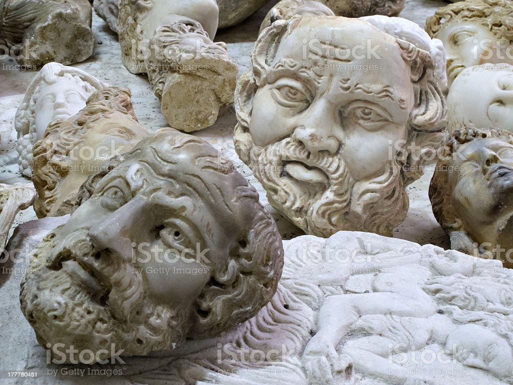 Imitation busts of historic personalities stock photo