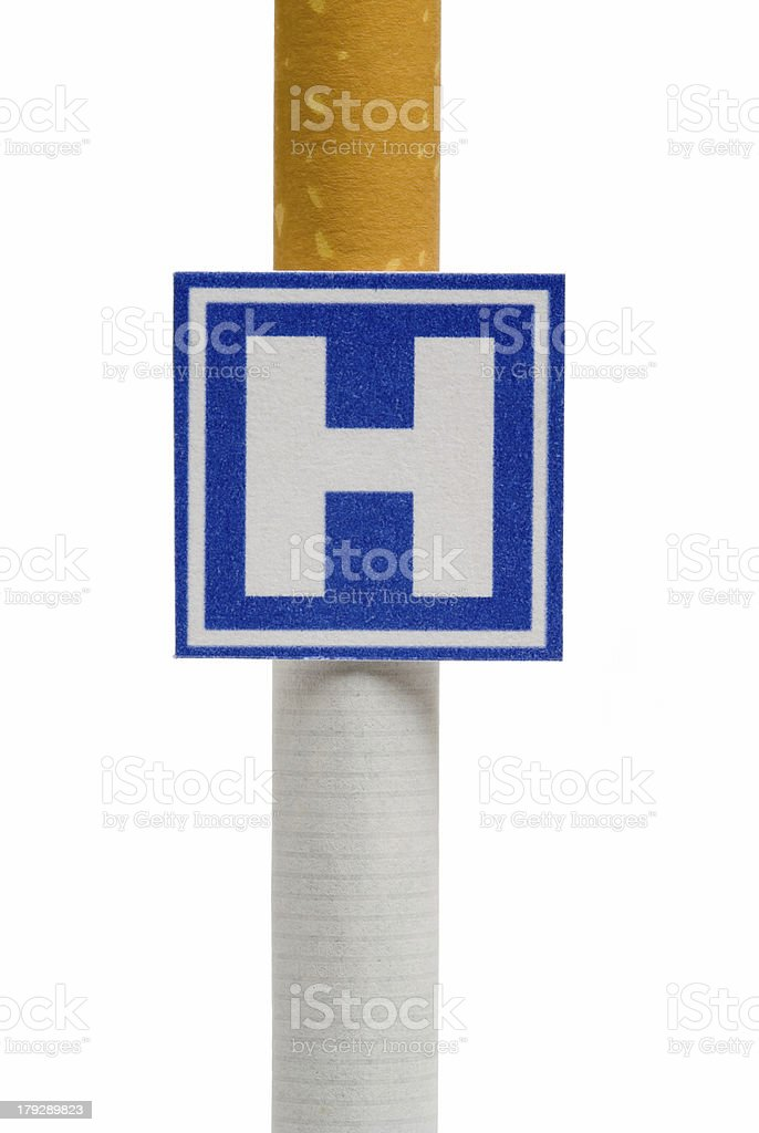 Imitation hospital signboard on cigarette, isolated stock photo
