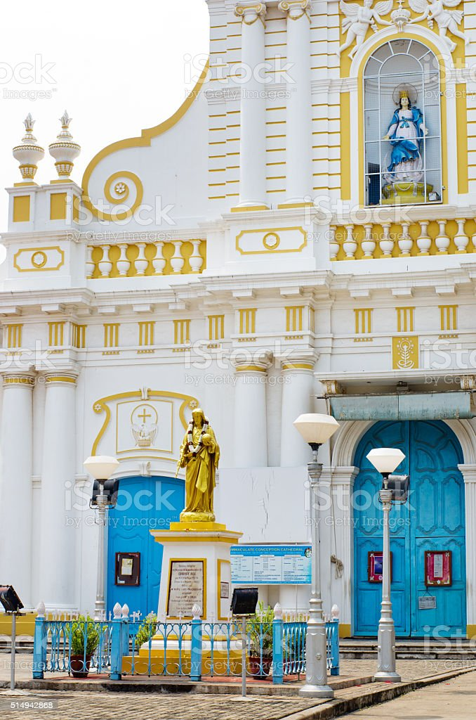 Immaculate Conception Cathedral, Pondicherry, India stock photo