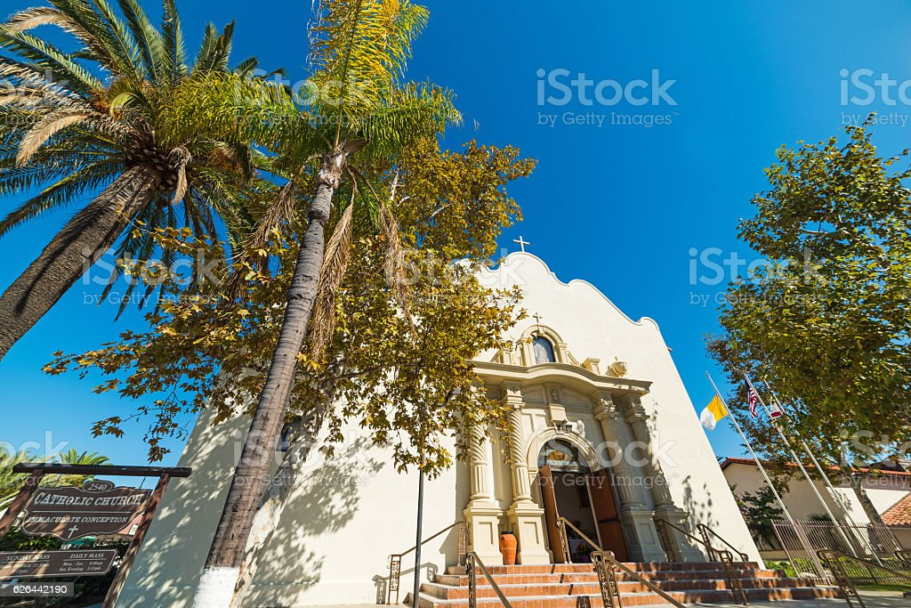 Immaculate conception church in San Diego old town stock photo