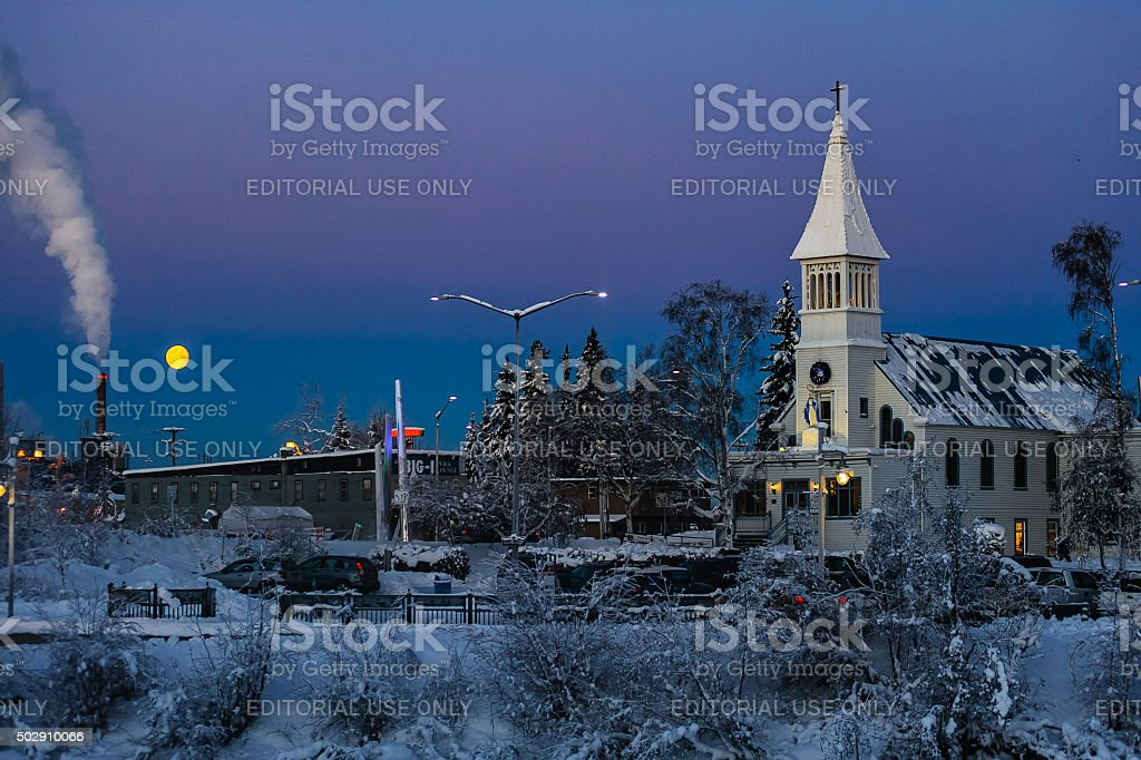 Immaculate Conception Church with moon stock photo