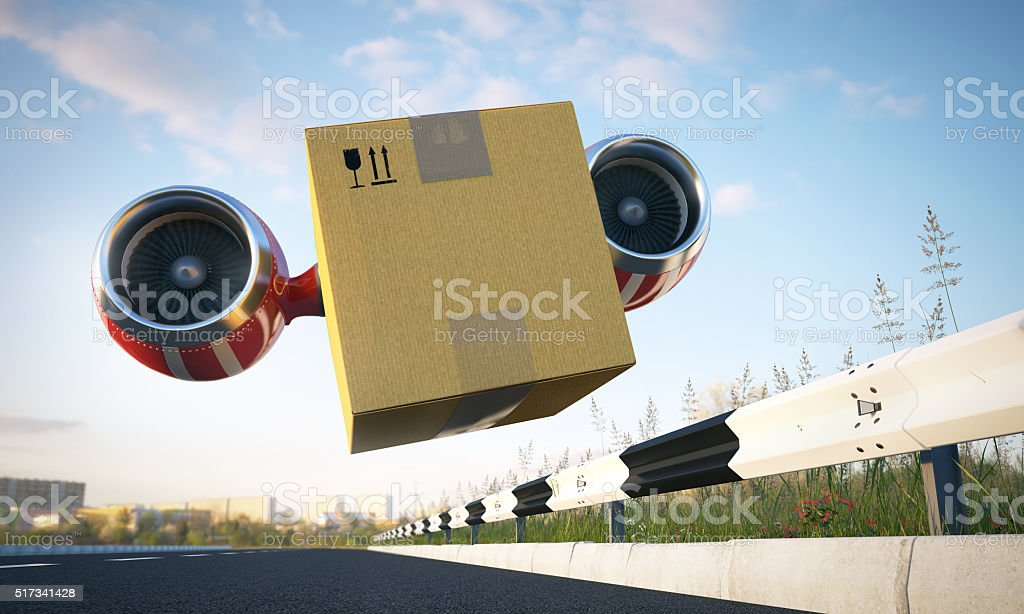 Immediate cargo delivery by creative vehicle stock photo