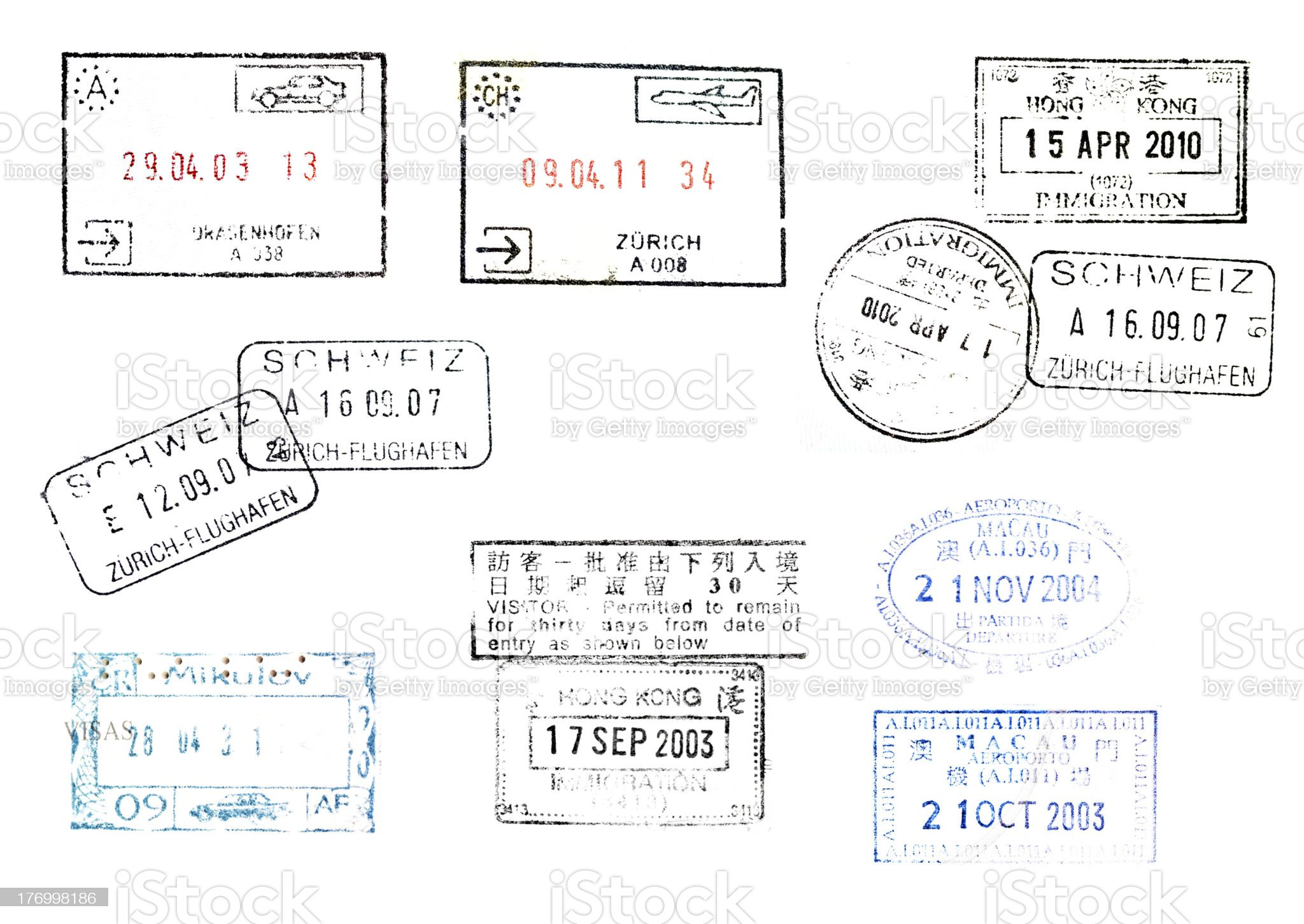immegration stamps on passport from many countries royalty-free stock photo