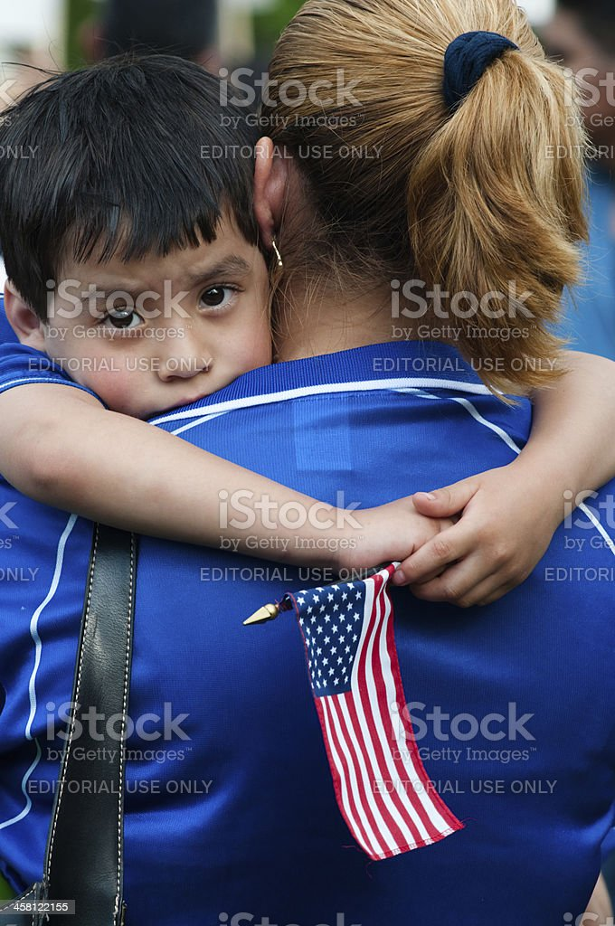 Immigrant Families on the March royalty-free stock photo