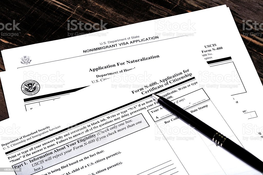 USA Immigration Applications Closeup stock photo