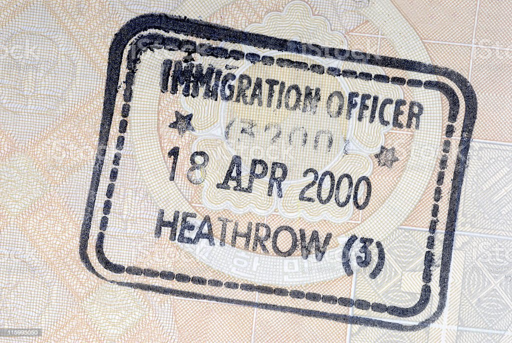 UK immigration arrival passport stamp royalty-free stock photo