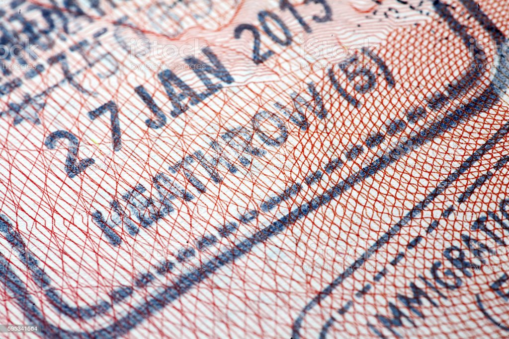 UK (Heathrow) immigration arrival passport stamp stock photo