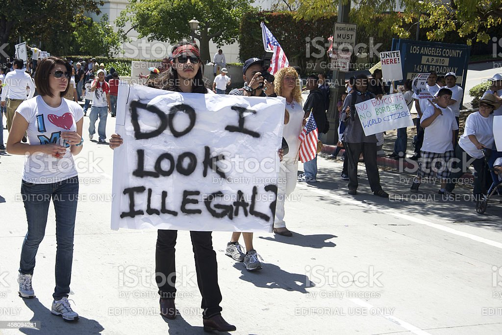 Immigration march in Los Angeles stock photo