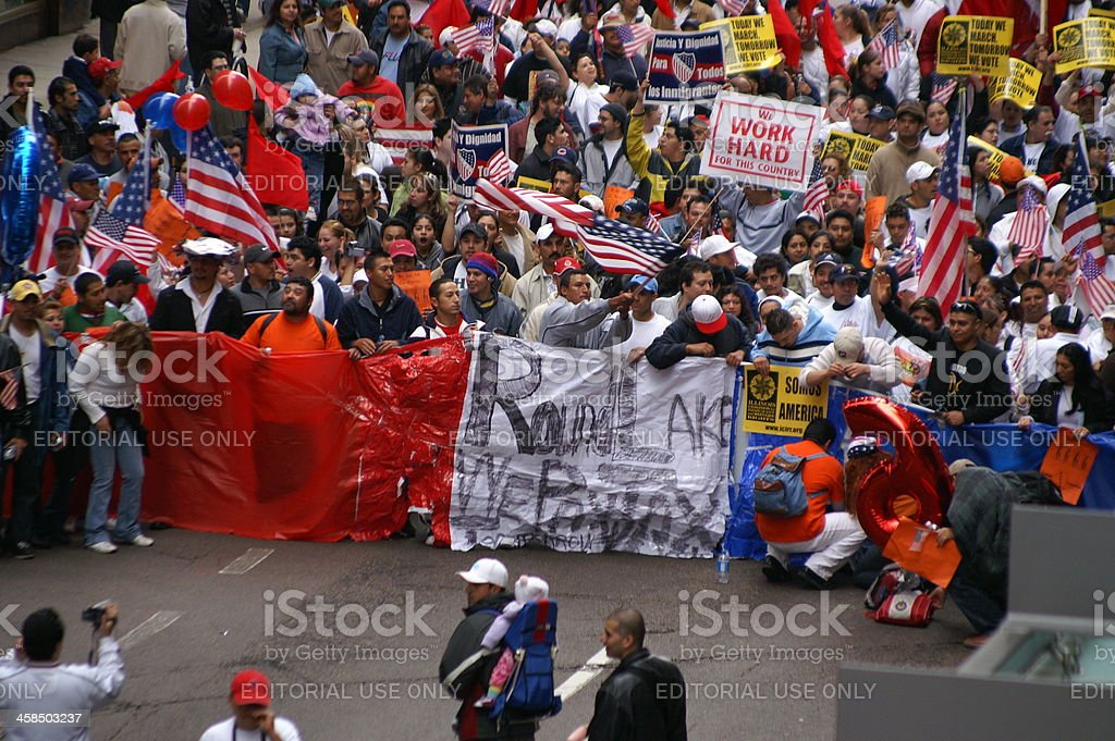 Immigration rights protest royalty-free stock photo
