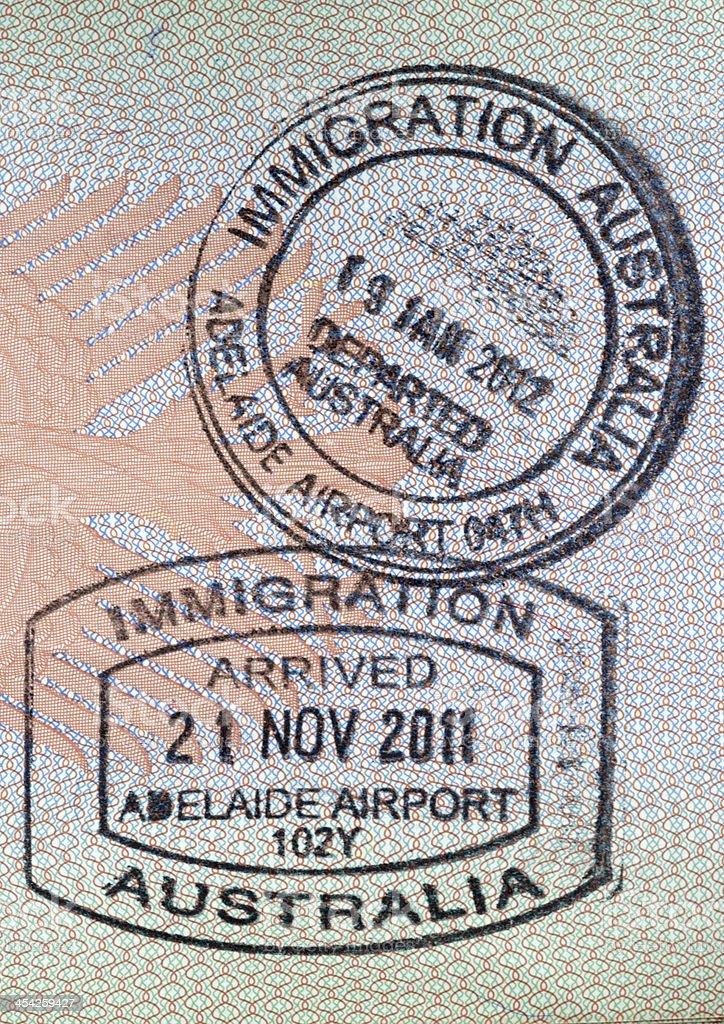 Immigration Visa Passport Stamp, Australia royalty-free stock photo