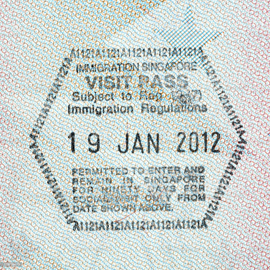 Immigration Visa Passport Stamp, Visit Pass, Singapore royalty-free stock photo
