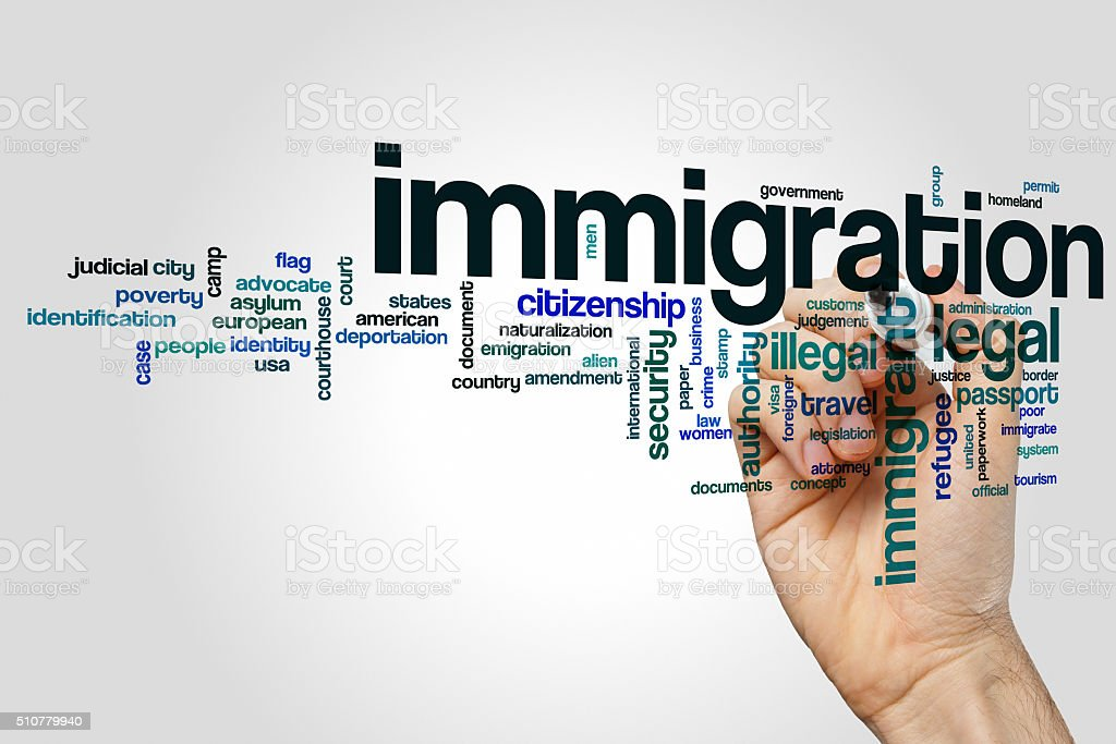 Immigration word cloud concept stock photo