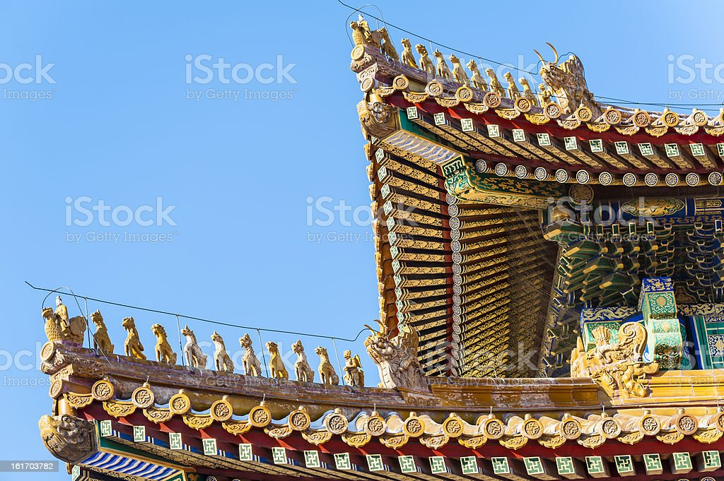 Immortal and beasts on the eaves of Taihe Hall stock photo
