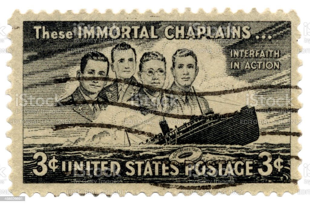 Immortal Chaplains Interfaith In Action Postage Stamp stock photo