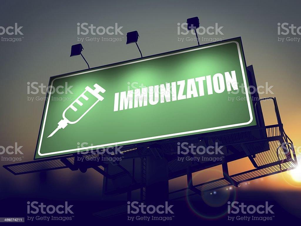 Immunization - Billboard on the Sunrise. royalty-free stock photo