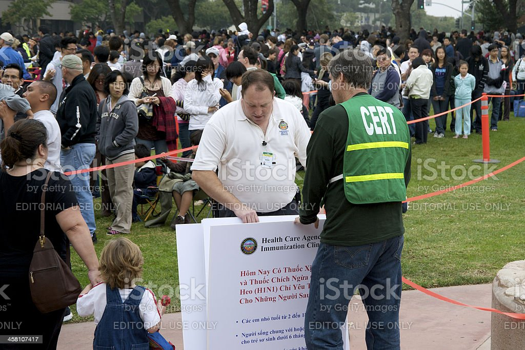 H1N1 immunization clinic in the Los Angeles County royalty-free stock photo