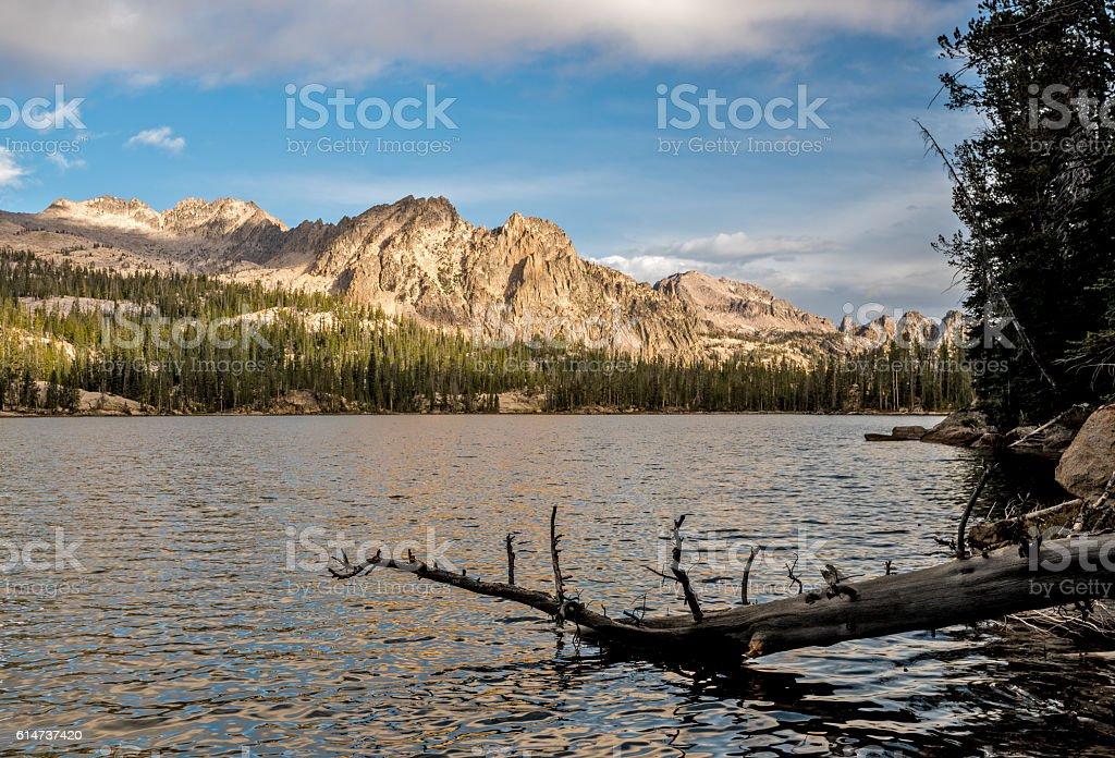 Imogene Lake Idaho morning reflection with log stock photo