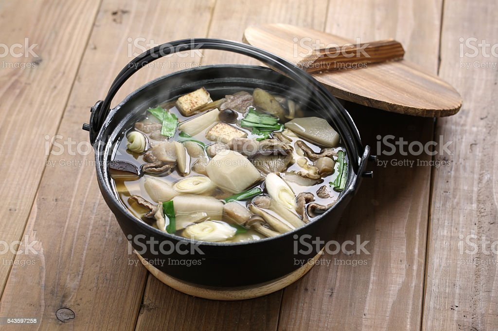 imoni, japanese hotpot cooking stock photo