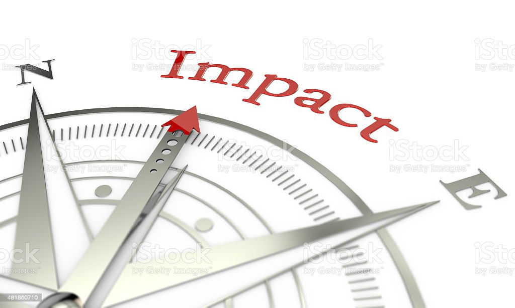 Impact compass direction stock photo