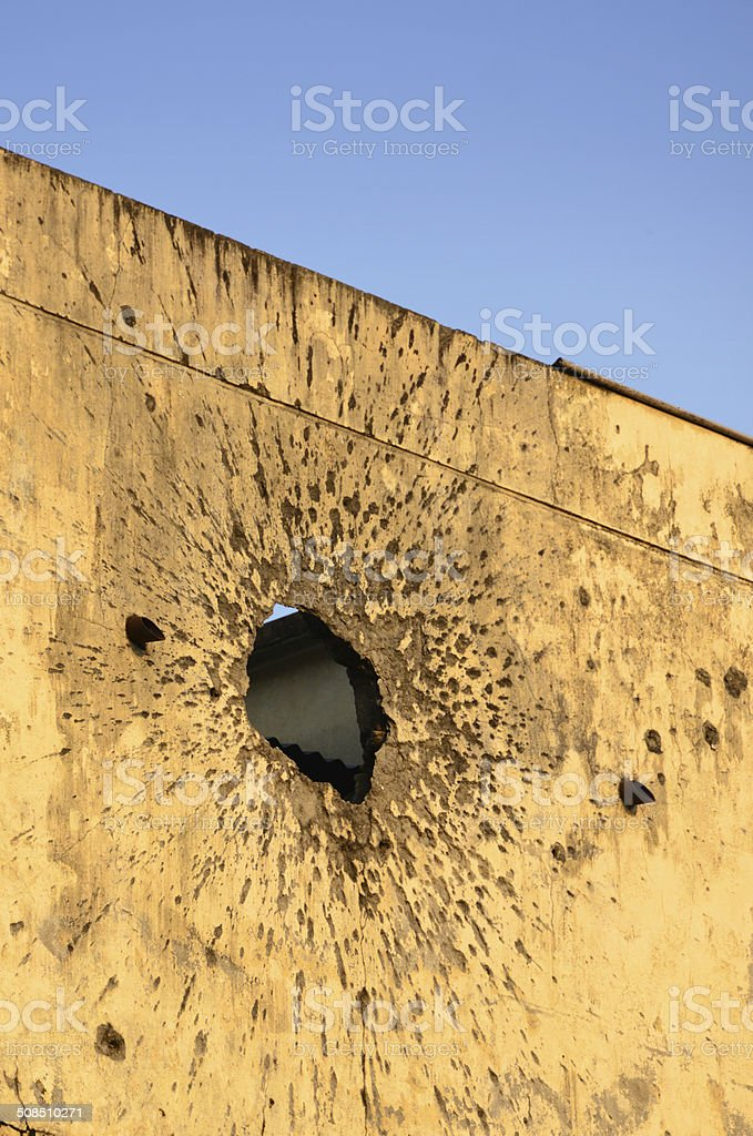 Impact of an RPG on a wall stock photo