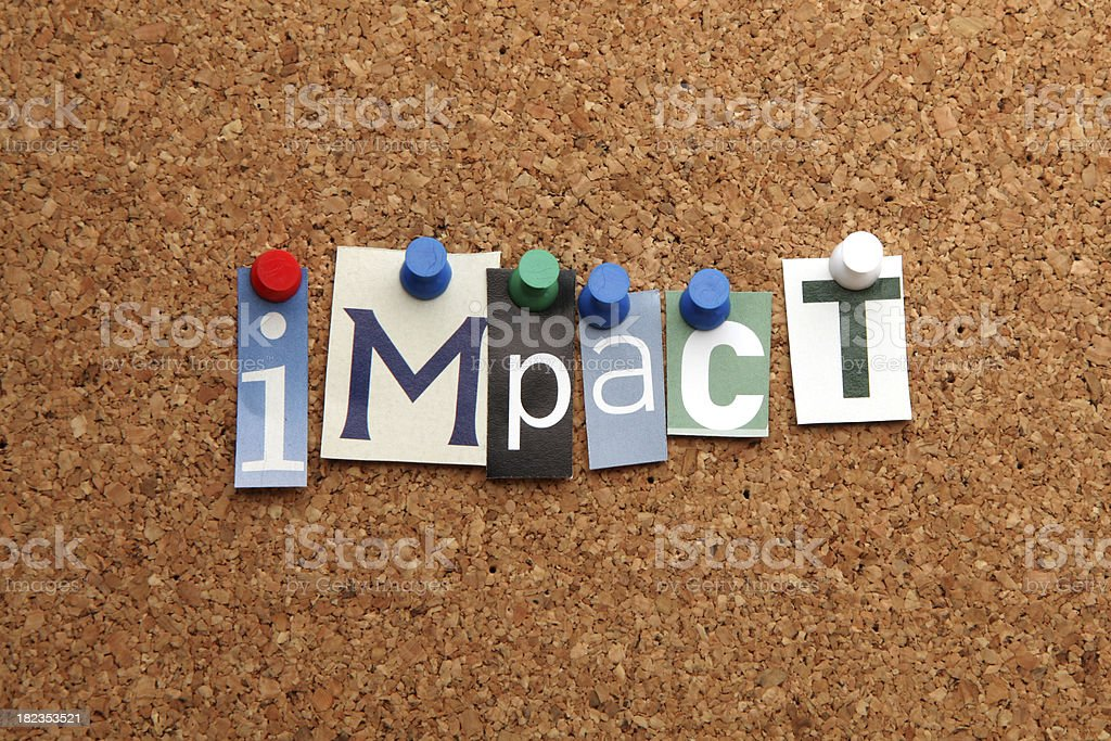 Impact pinned on noticeboard stock photo