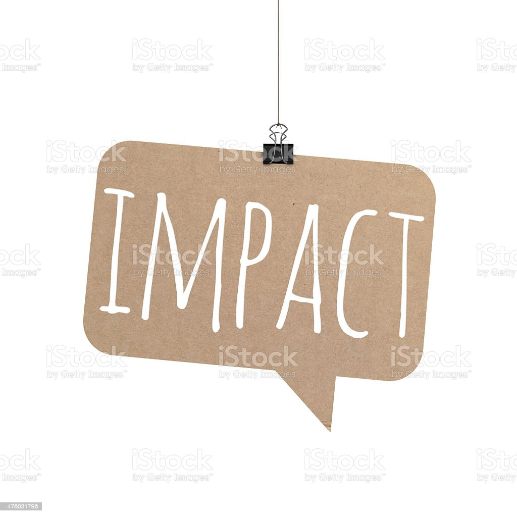 Impact speech bubble hanging on a string stock photo