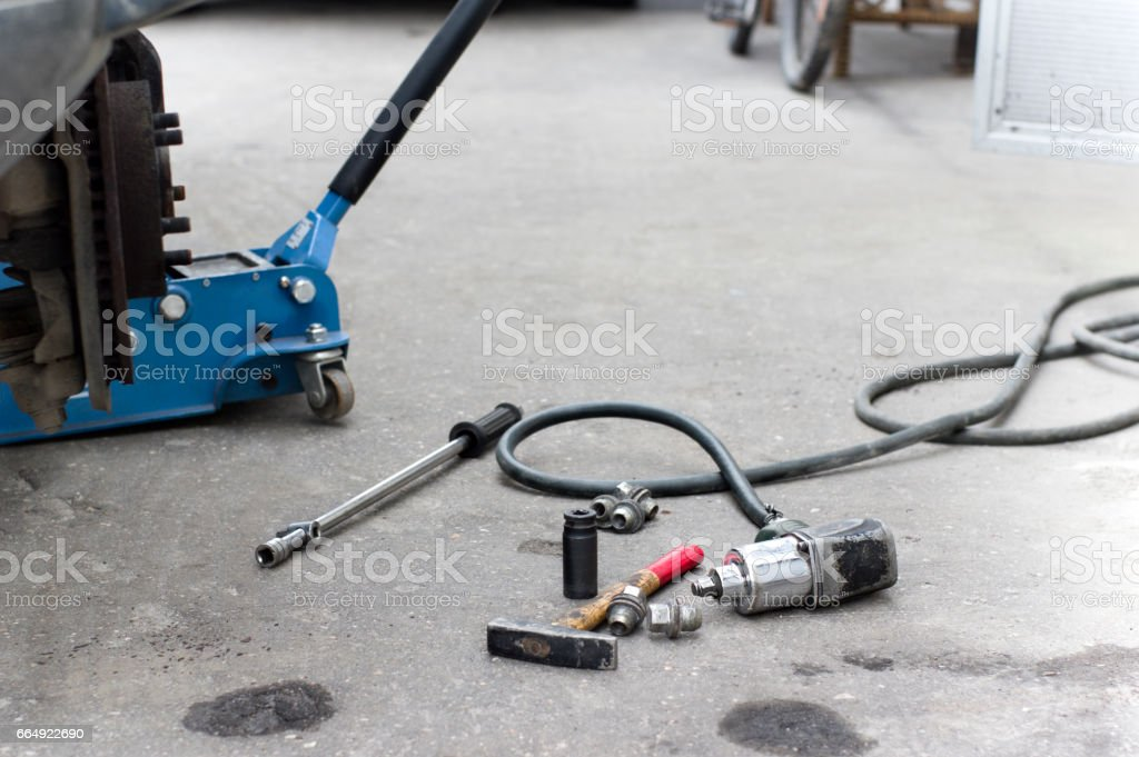 Impact Wrench And Car stock photo