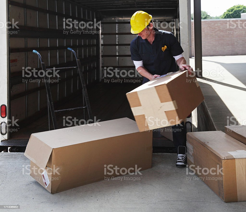 Impatient Delivery Truck Worker stock photo