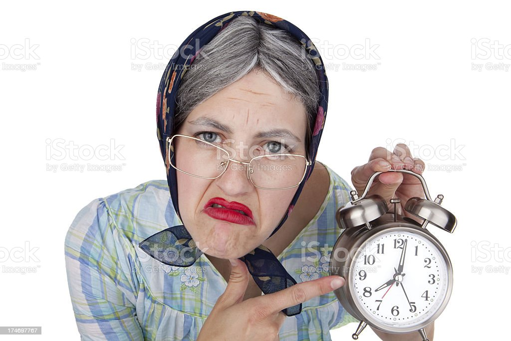 Impatient Old Lady With Clock royalty-free stock photo