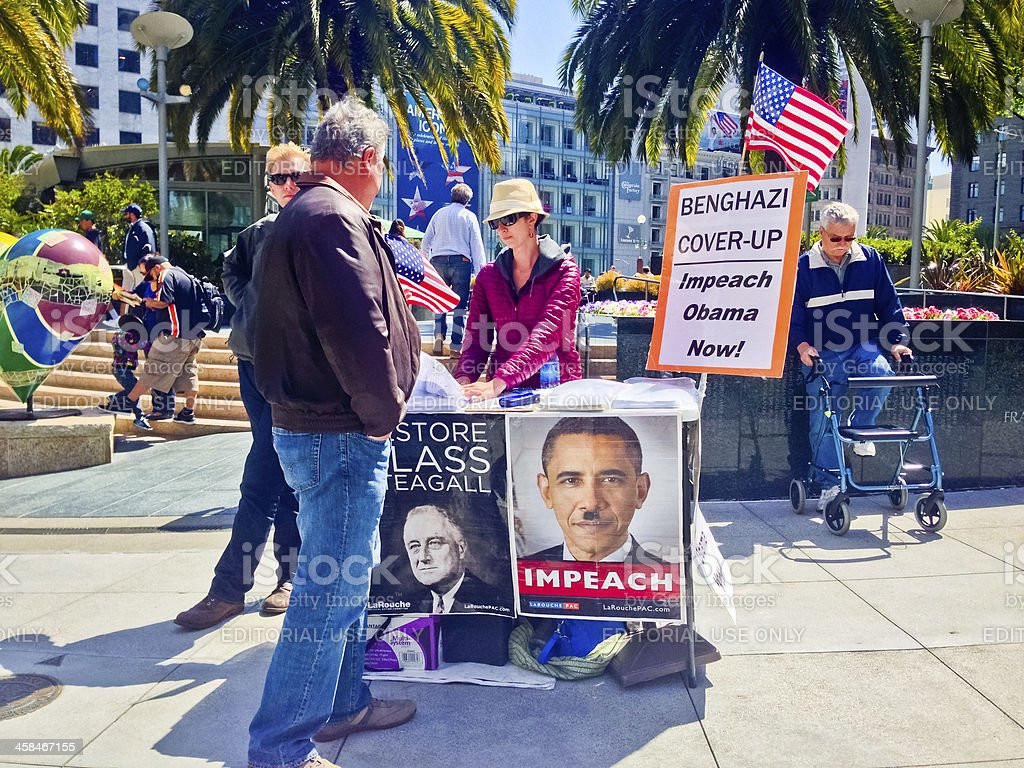 Impeach Obama Campaign on Union Square, San Francisco royalty-free stock photo