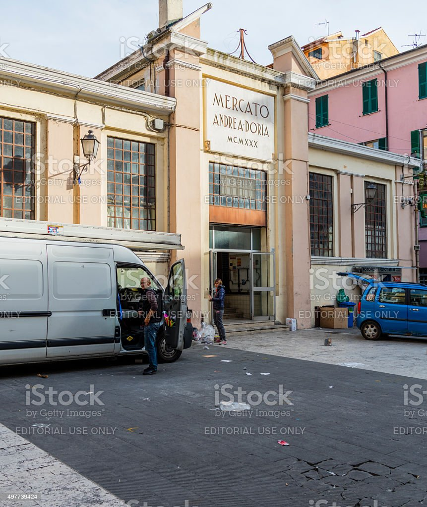 Imperia (Italy). Covered market stock photo