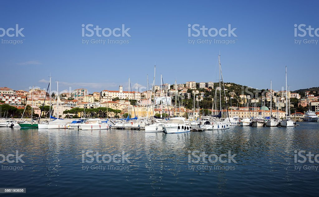 Imperia, Italy. View from the sea stock photo