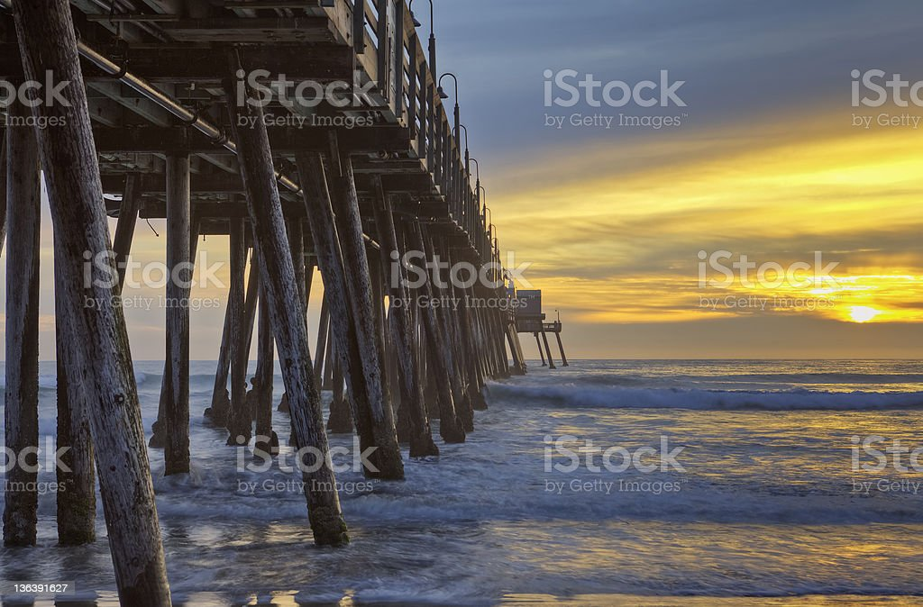 Imperial Beach Pier & Pacific Sunset stock photo